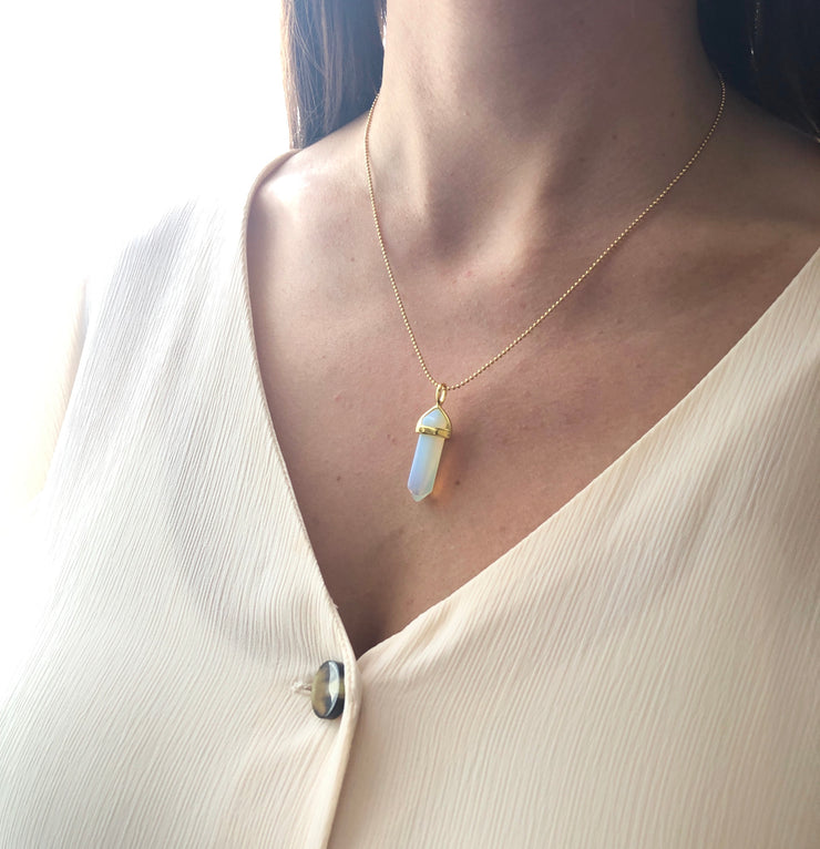 Confidence Necklace Gold, Opalite