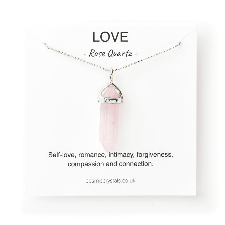 Love Necklace Silver, Rose Quartz