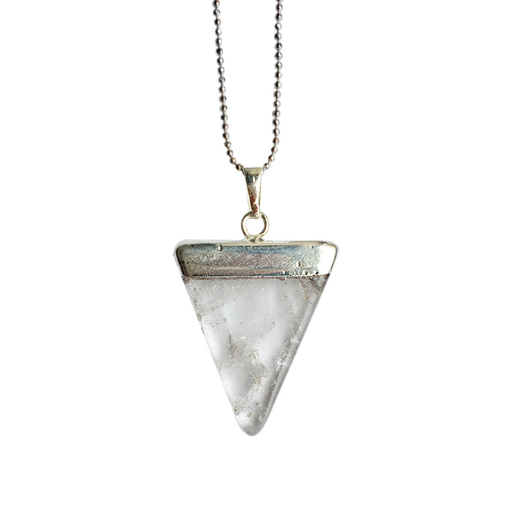 Silver Quartz Crystal Necklace, triangle crystal necklace, Positivity Necklace, Cosmic Crystals, healing crystal jewellery, crystal pendants uk, crystal meanings, healing crystals