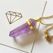 Peace Necklace, Gold Amethyst Necklace, Amethyst Pendant, Cosmic Crystals, amethyst jewellery, crystal pendants uk, crystal meanings, healing crystals, crystals for healing UK
