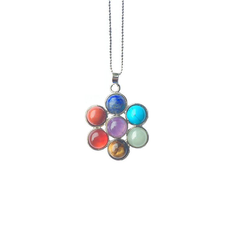 Flower Chakra Necklace (silver), Chakra Pendant- Conscious Crystals, healing crystal jewellery, crystal pendants uk, crystal meanings