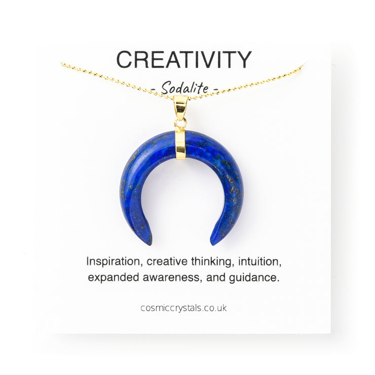 Creativity Moon, sodliate crystals, blue crystal necklace, crystal with meaning, meaningful crystals, PENDANT- Conscious Crystals, healing crystal jewellery, crystal pendants uk, crystal meanings
