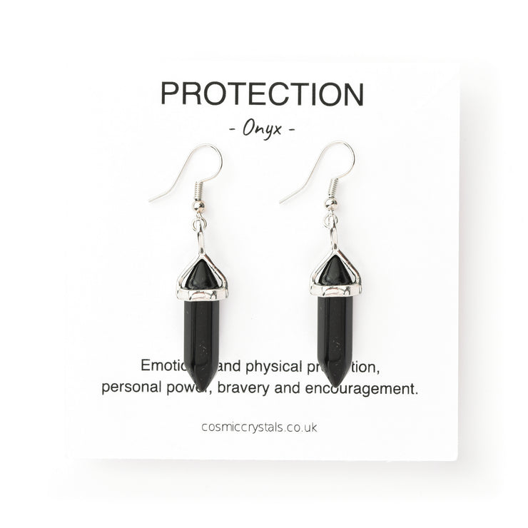 Protection Drop Earrings, Onyx