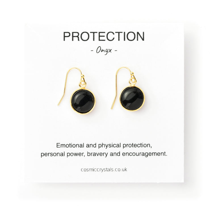 Protection Earrings, Onyx