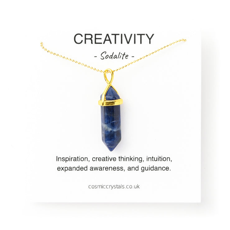 Creativity Necklace Gold, Sodalite