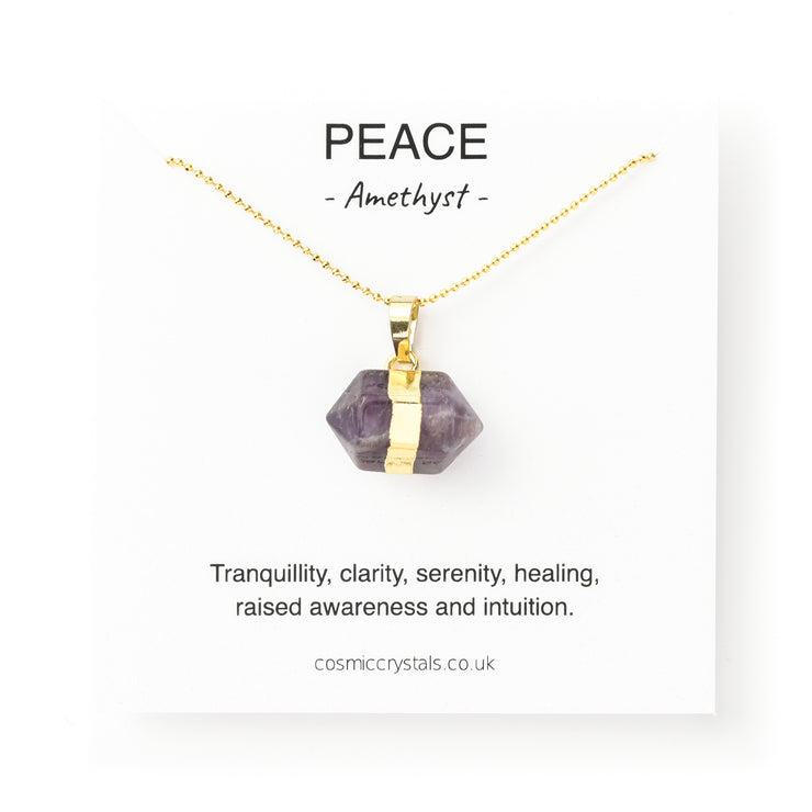 Peace Hexagon Gold, Amethyst