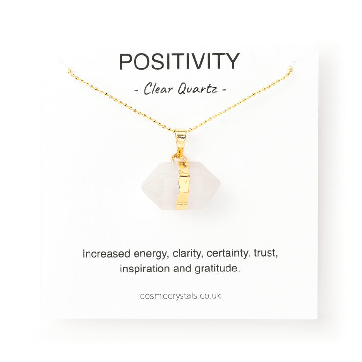 Positivity Hexagon Gold, Clear Quartz