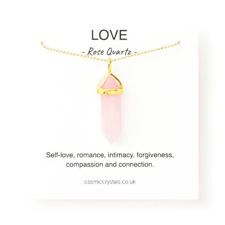 Gold Rose Quartz Necklace, Gold Love Necklace, Original Pendants- Cosmic Crystals, healing crystal jewellery, crystal pendants uk, Healing Crystals, meaningful jewellery