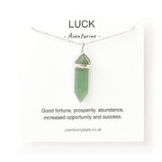 aventurine silver crystal necklace, luck necklace, green silver necklace, green pendant