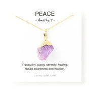 raw amethyst necklace gold, crystal for peace, purple crystal necklace, amethyst gold pendant