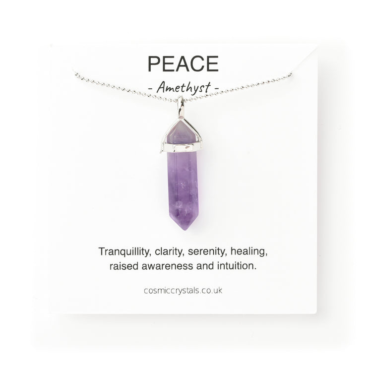 Peace Necklace, silver Amethyst Necklace, Amethyst Pendant, Cosmic Crystals, amethyst jewellery, crystal pendants uk, crystal meanings, healing crystals, crystals for healing UK