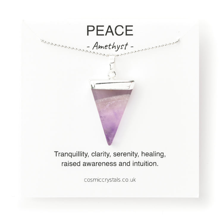 amethyst triangle necklace silver, cosmic crystals