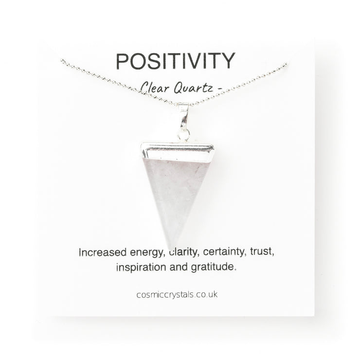 Positivity Triangle Silver, Clear Quartz