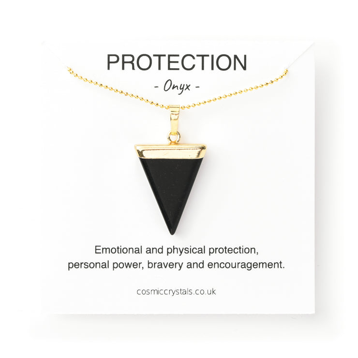 Protection Triangle (gold), Triangle Pendant- Conscious Crystals, healing crystal jewellery, crystal pendants uk, crystal meanings