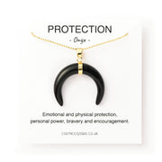 Protection Moon, Onyx crystal moon, horn crystal, black crystal necklace, Cosmic Crystals, healing crystal jewellery, crystal pendants uk, crystal meanings