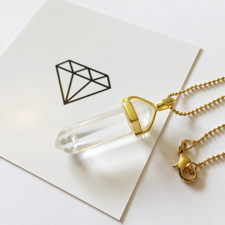 Gold Quartz Crystal Necklace, Positivity Necklace, Cosmic Crystals, healing crystal jewellery, crystal pendants uk, crystal meanings, healing crystals