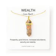Wealth Necklace Gold, Lace Agate