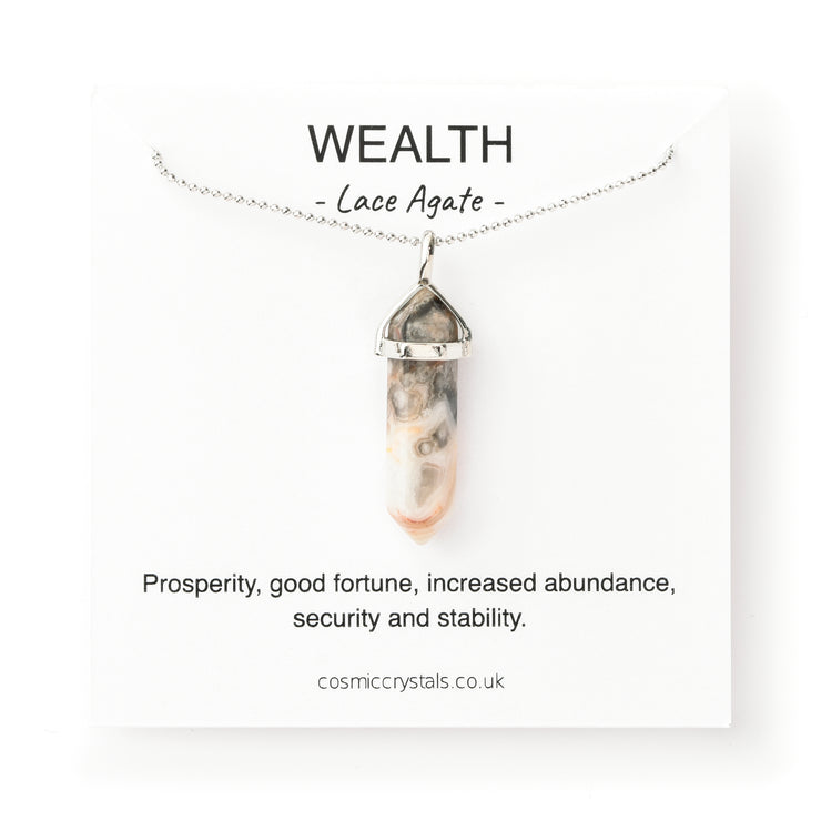 Wealth Necklace Silver, Lace Agate
