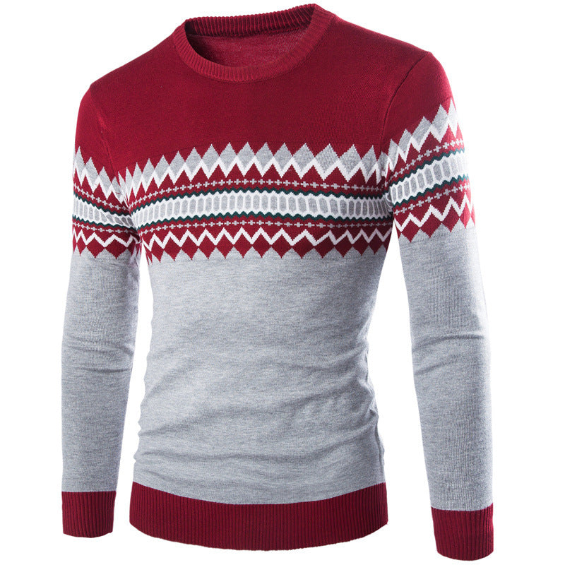 2016 New Autumn Winter Round Neck Pullover Men Slim Fit Knitted