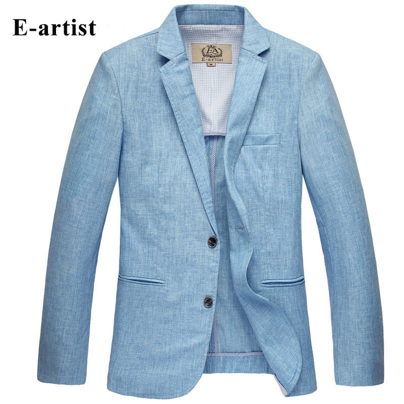 2016 linen two button men's blazer spring summer slim men's jackets