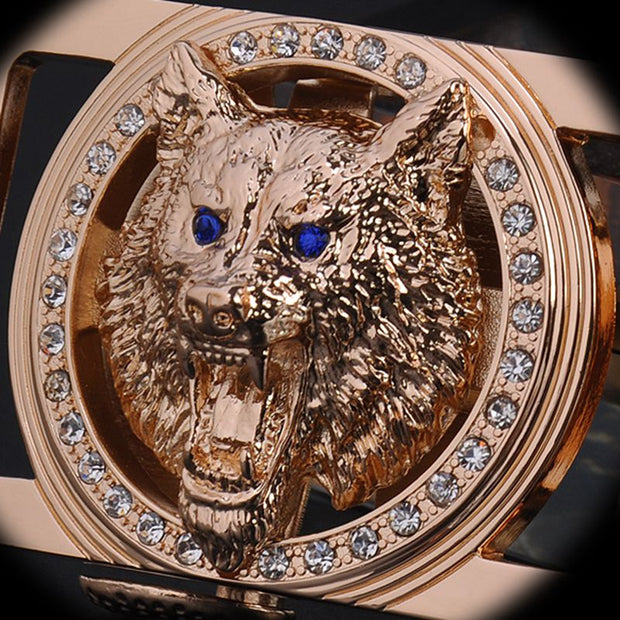 2017 brand new famous designer belts men high quality belt gold Wolf