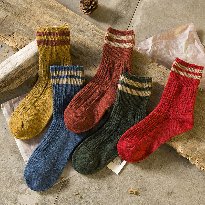 1Pair Stripe Style Men Socks Causal Thermal Autumn Winter Man Long