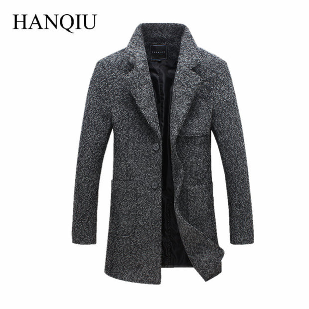 2017 New Fashion Long Trench Coat Men Winter Mens Overcoat 40% Wool