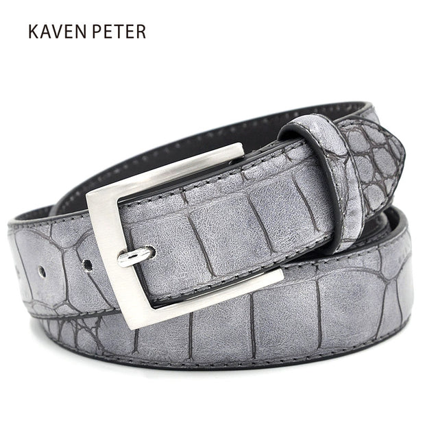 Mens Fashion Waist Belts Faux Crocodile Pattern Belts With Split