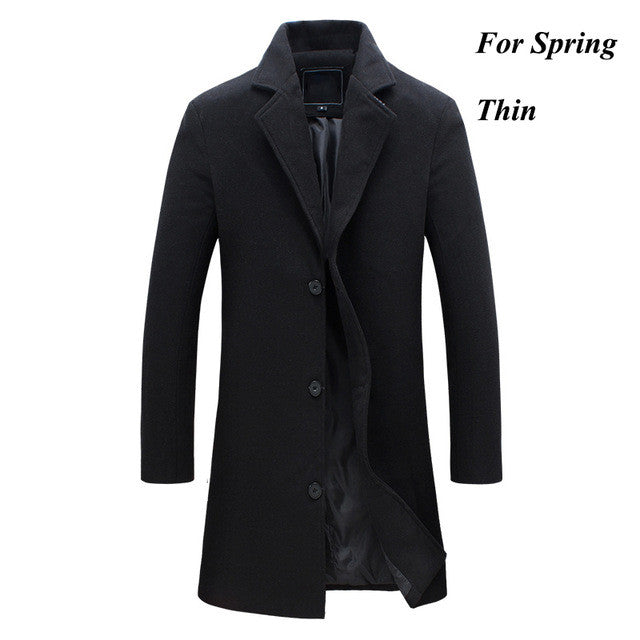 2016 LETSKEEP new winter wool long coat men warm black business