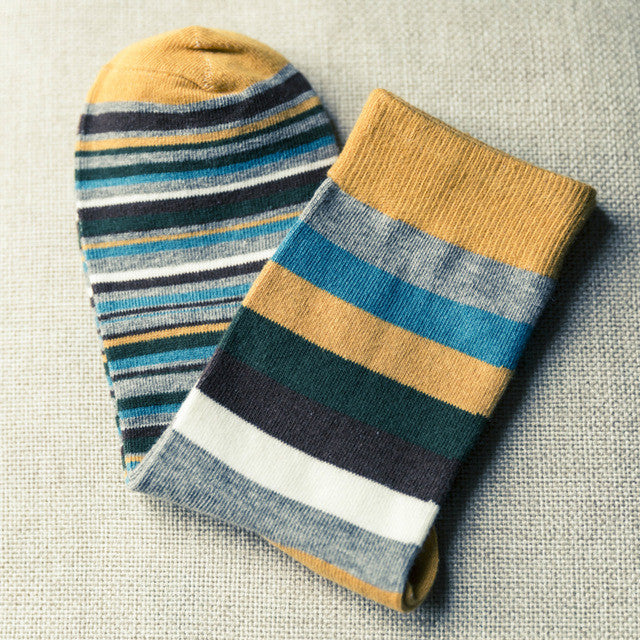 1Pairs Men's Socks Chaussette Striped Print Male Long Socks Long Men's