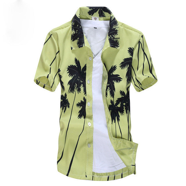 2016 Summer Hawaiian Shirt Men Casual Beach Slim Fashion Floral Shirts