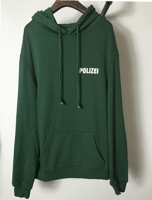 2016 sweatshirt oversized Green Polizei 16ss Embroidered hoodie with