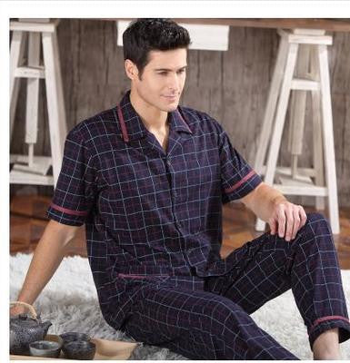 2016 NEW Pajamas For Men Cotton Sleepwear Short Sleeve Trousers