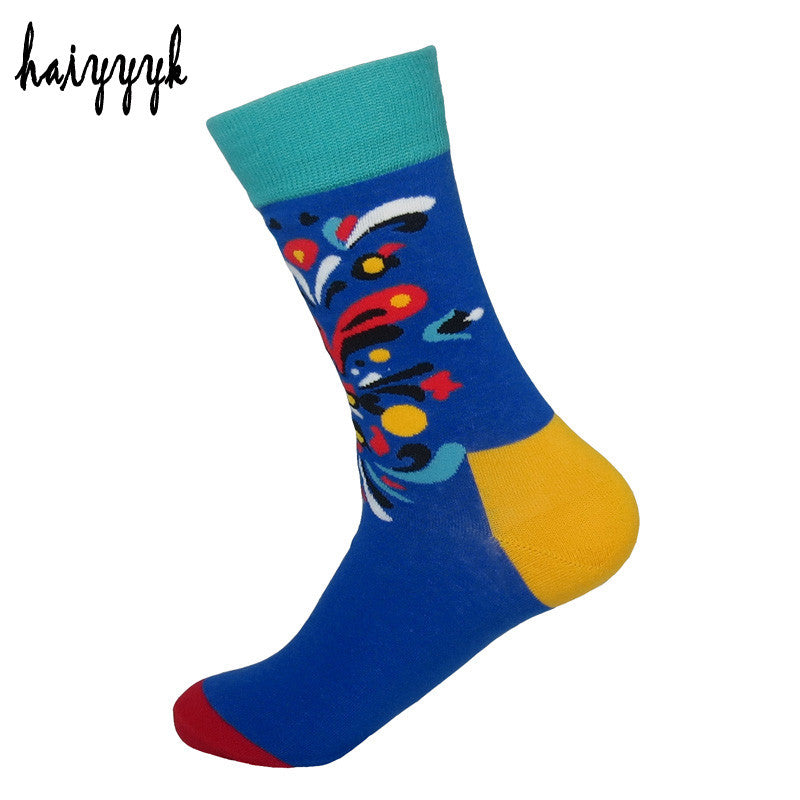 2017 combed cotton brand men socks cartoon colorful dress socks