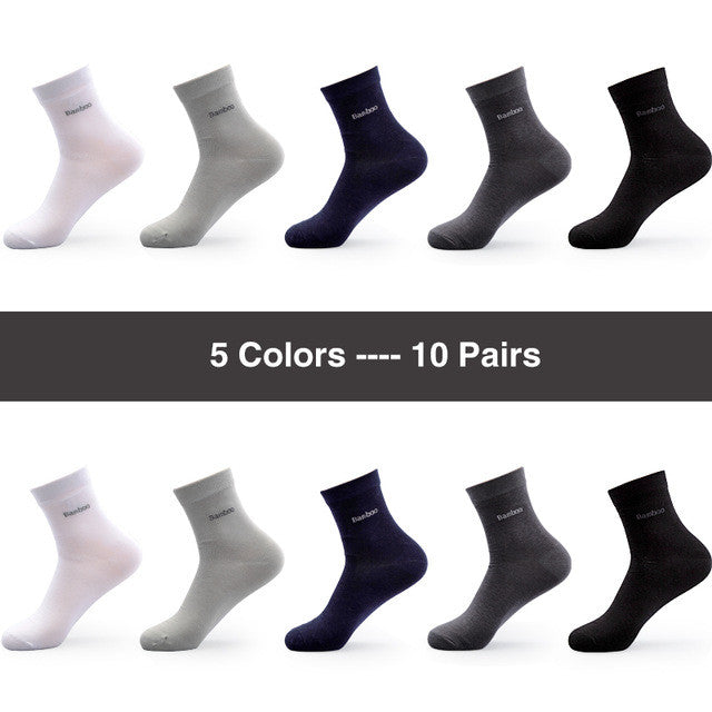 10 Pairs / Lot Brand New Men Bamboo Socks Brethable Anti-Bacterial