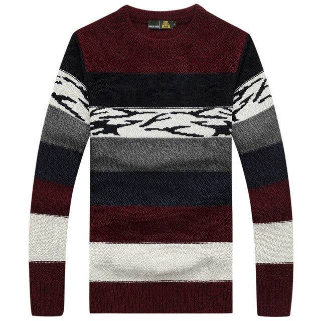 2016 NEW winter long sleeve striped men pullover sweater masculino