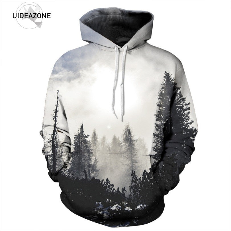 3D LOST Hoodie Trip Black White Forest Tracksuit 2017 Winter Outcoat