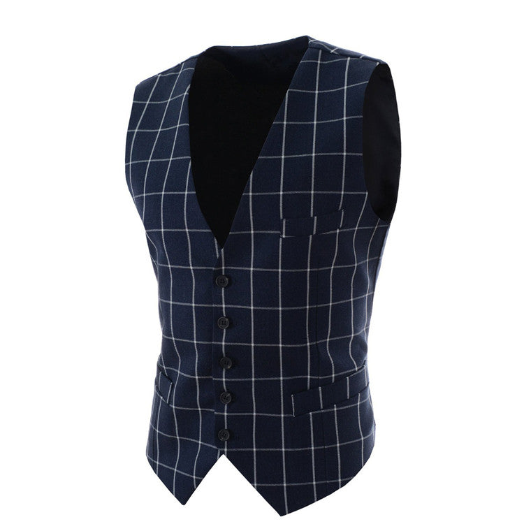 2016 Slim Fit Mens Waistcoat New Casual Suit Vest Men Plaid Style