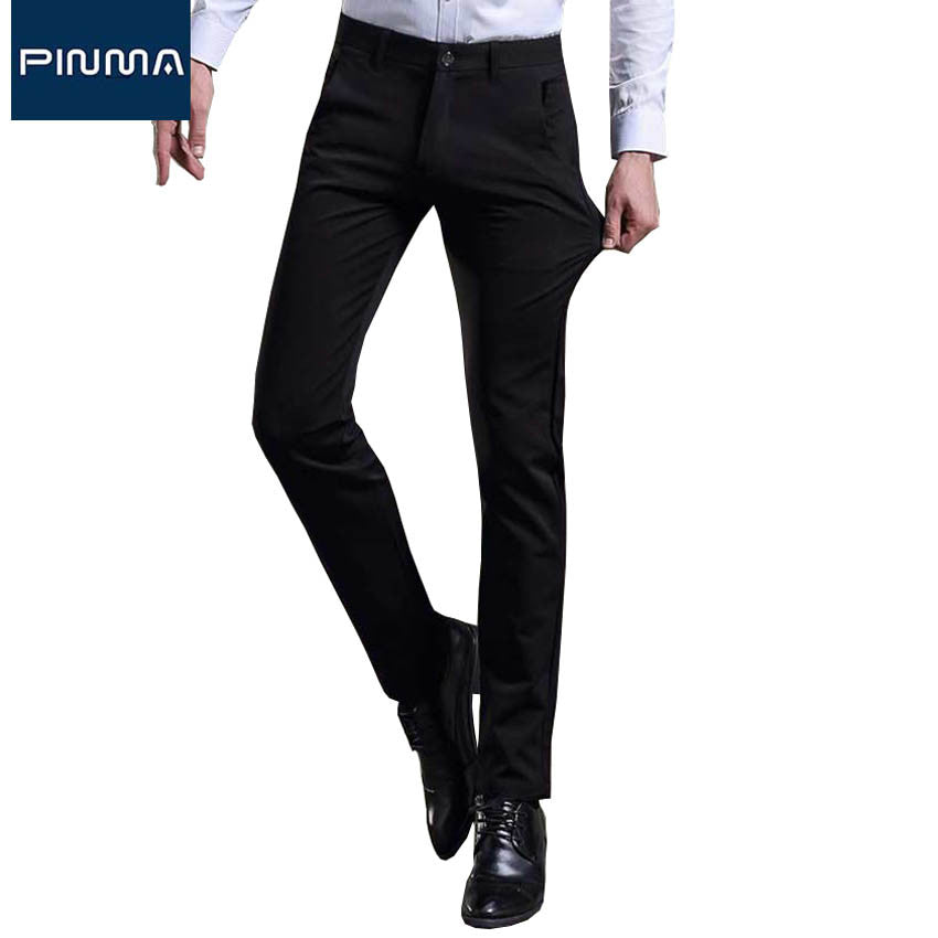 2017 brand design cotton male dress pant skinny black office slim