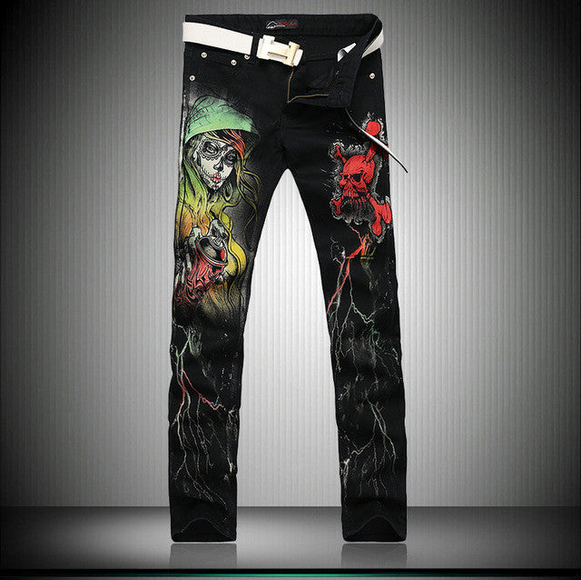 2017 Cool Skinny Jeans For Guys Punk Style Skull 3D Printed Club