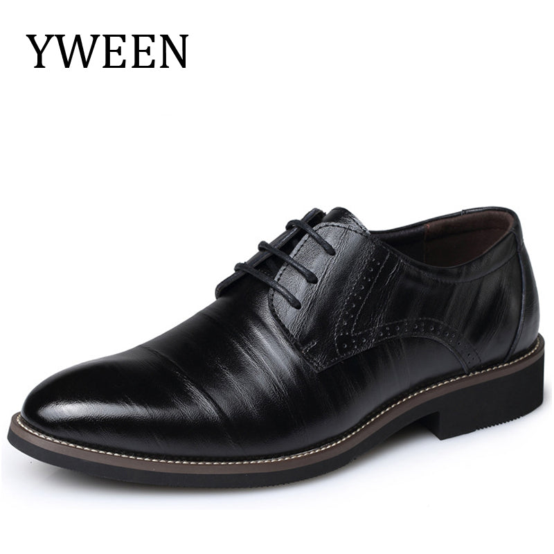 YWEEN Fashion High Quality Leather Shoes Men,Lace up Business Men's