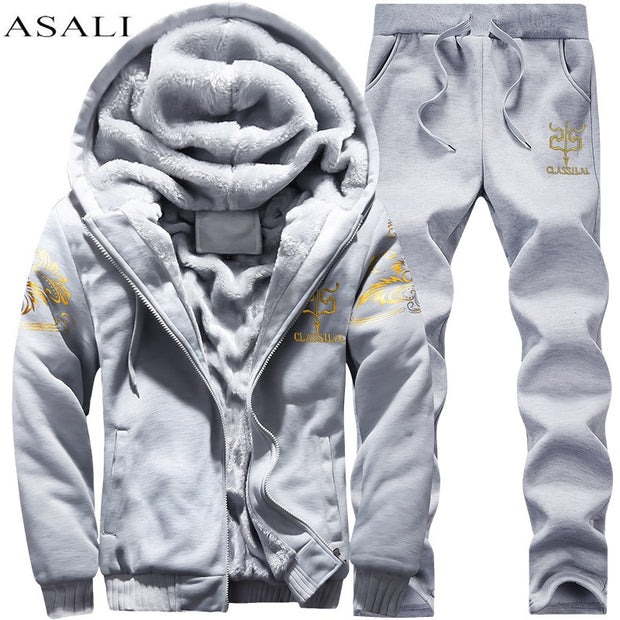 tracksuits Winter Thick Inner Wool Men Hat Casual Warm Suit Men Zipper