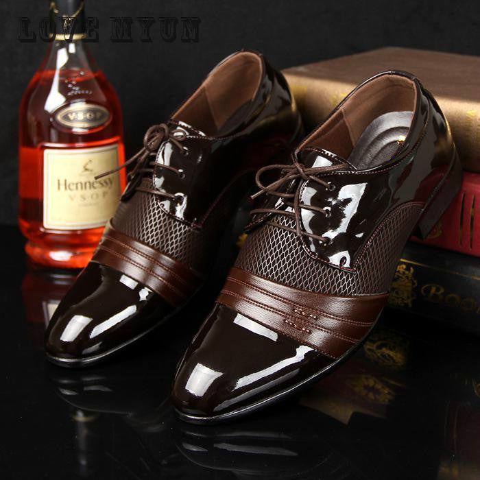 2016 Men Office Business Patent Dress Oxfords Shoes Luxury Brand