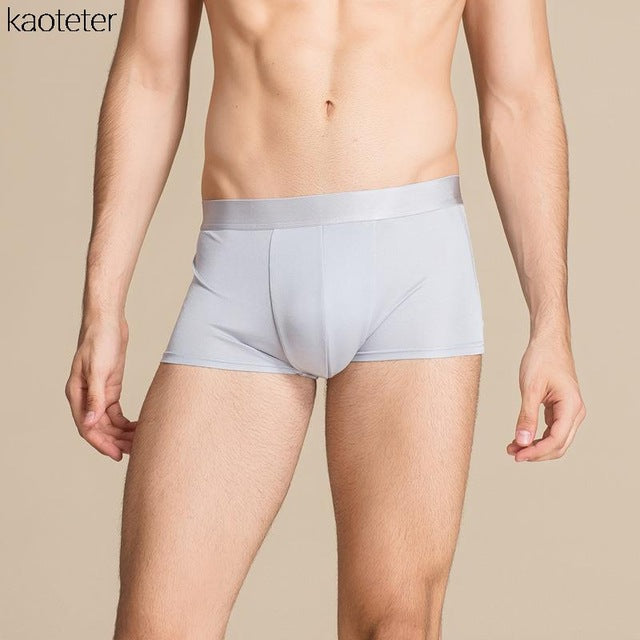 100% Pure Silk Men's Boxers Male U Shape Cutting Underpants Men Mid