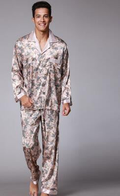 2016 Man's Fashion V Neck Fake Silk Pajamas for Men with L XL XXL size