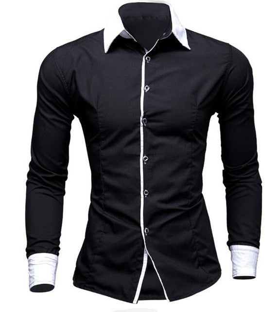 2017 Fashion Brand Slim Fit Men Long Sleeve Shirt Cotton Men Solid