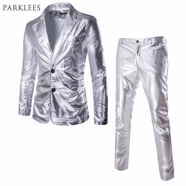 Jacket+Pants Metallic Suit Men 2017 Spring New Shiny Dress Suits