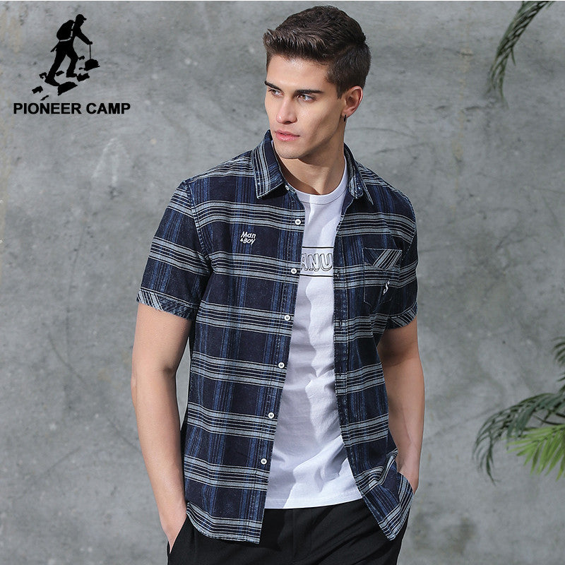 Pioneer Camp New short casual shirt men brand clothing fashion striped