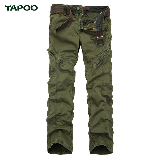 TAPOO 2017 Spring Autumn Men Cargo Pants Solid Casual Men Army Trouser