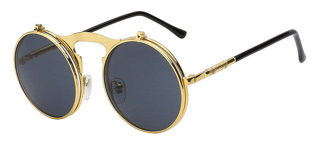 1b8b860422 Men s Round Retro Vintage Metal Steampunk Sunglasses With Polarized Lens